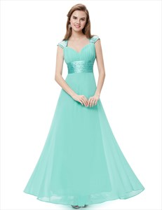 Cap Sleeve Sequin Embellished Ruched A Line Open Back Prom Dress
