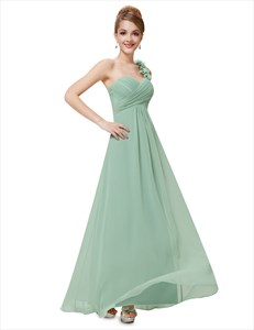 One Shoulder Ruched Empire Waist Bridal Dress With Flower Strap