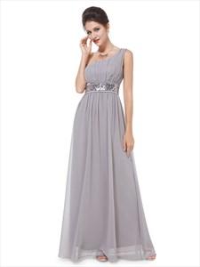 One Shoulder Sequin Embellished Waist Empire Ruched Prom Dress