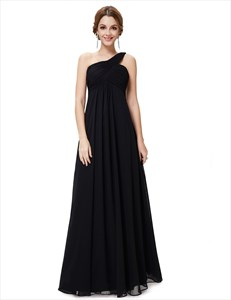 One Shoulder Sleeveless Empire Ruched Maid Of Honor Dress