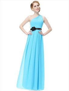 One Shoulder Ruched Beaded Prom Dress Long With Flower Waist
