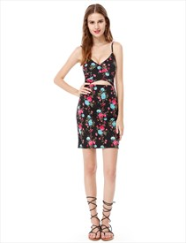 Spaghetti Strap Short Floral Print Sheath Dresses With Keyhole Front
