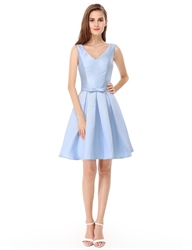 V Neck Sleeveless Knee Length Fit And Flare Cocktail Dress With Bow
