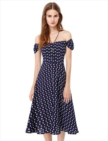 Off The Shoulder Printed Short Sleeve Casual Tea Length Dress