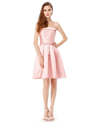 Strapless Lace Up Fit And Flare Cocktail Party Dress With Bow