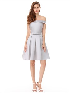 Elegant Off The Shoulder Fit And Flare Knee Length Cocktail Dress