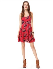 Spaghetti Strap Open Back Floral Print Knee Length Homecoming Dress