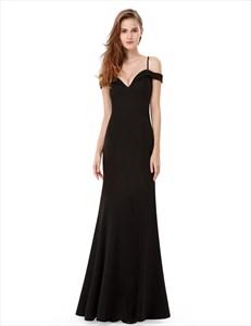 Spaghetti Strap Off The Shoulder Sweetheart Long Chiffon Prom Dress
