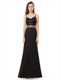 Black Spaghetti Strap Sequin Embellished Top Sheath Long Prom Dress