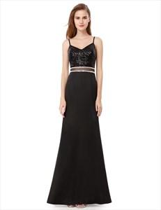 Black Spaghetti Strap Sequin Embellished Top Sheath Long Prom Dress
