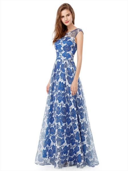 Floral Print Cap Sleeve A-Line Floor Length Long Chiffon Prom Dress