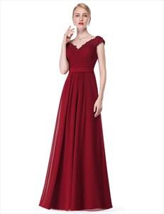 V Neck Embellished Beaded Cap Sleeve Long Chiffon Bridesmaid Dress