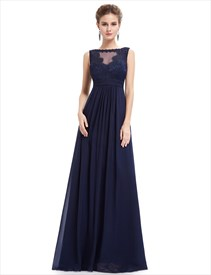 Illusion Lace Bodice Chiffon Skirt Sleeveless Long Bridesmaid Dress