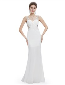 Sweetheart Illusion Beaded Sheer Back Sheath Long Formal Dress