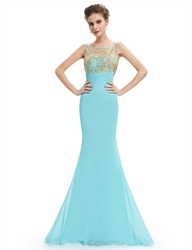 Turquoise Embroidered Top Open Back Mermaid Long Chiffon Prom Dress