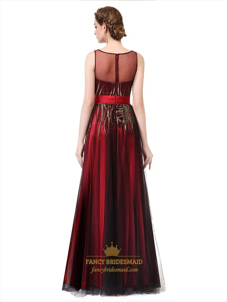 Sequin Embellished Bodice Sheer Back A Line Long Formal Dress