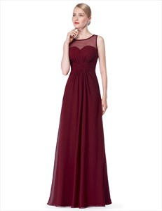 Ruched Bodice Illusion Neckline A Line Sheer Back Long Bridal Dress