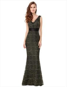 V Neck Sleeveless Lace Mermaid Evening Dress With Satin Ribbon