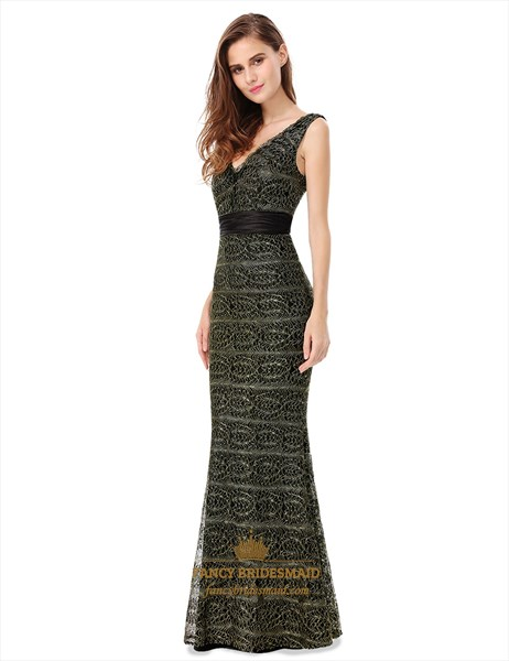 V Neck Sleeveless Lace Mermaid Evening Dress With Satin Ribbon