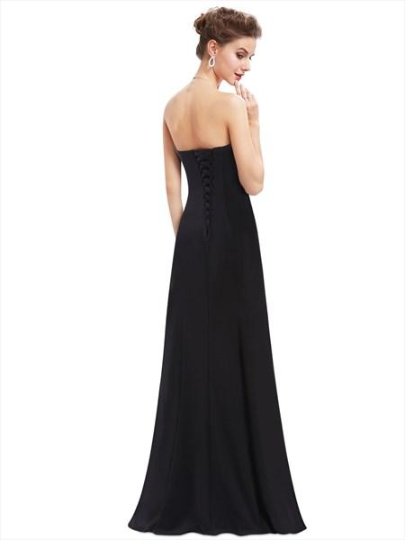 Strapless Sweetheart Sequin Embellished Floor Length Evening Dress