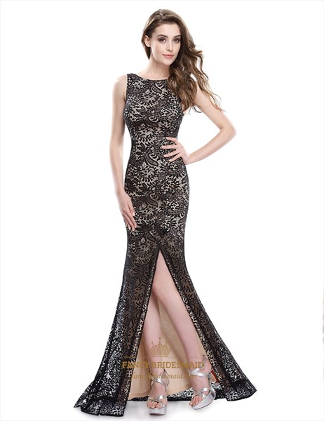 Black Lace Overlay Side Cut Out Mermaid Prom Dress With Open Back
