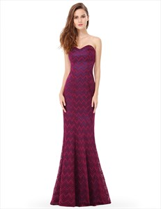 Elegant Strapless Sweetheart Lace Mermaid Long Formal Evening Gown