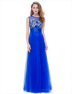 Applique Embellished A-Line Chiffon Formal Dress With Satin Ribbon
