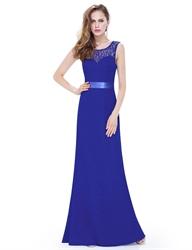 Royal Blue Lace Open Back Long Bridesmaid Dress With Satin Ribbon