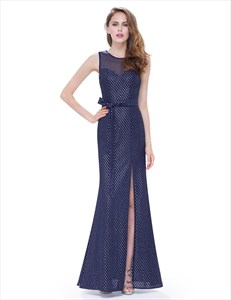 Navy Blue Polka Dot Open Back Chiffon Prom Dress With Side Cut Out