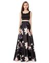 Black Two Piece Sleeveless Floral Print Skirt Long Evening Dress