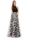 Halter Top Lace Bodice Two Piece Floral Print Skirt Prom Dress