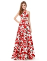 Red Floral Print Halter Two-Piece A Line Floor Length Prom Dress
