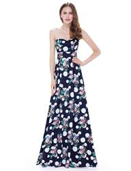 Strapless Sweetheart Floral Print Polka Dot Floor Length Formal Dress