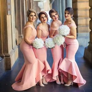Elegant Coral Off The Shoulder Dropped Waist Mermaid Bridesmaid Dress