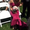Fuchsia Off The Shoulder Dropped Waist Mermaid Long Bridesmaid Dress