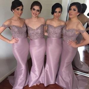 Lavender Off The Shoulder Lace Bodice Sheath Mermaid Bridesmaid Dress