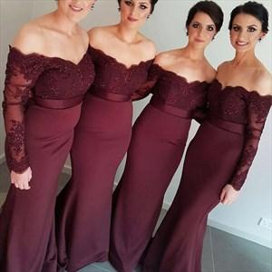 Burgundy Off Shoulder Long Sleeve Lace Bodice Mermaid Bridesmaid Dress