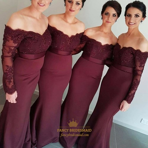 Burgundy Off Shoulder Long Sleeve Lace Bodice Mermaid Bridesmaid Dress