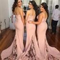 Light Pink Spaghetti Strap Lace Embellished Chiffon Bridesmaid Dress