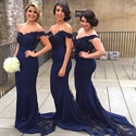 Navy Blue Off The Shoulder Lace Embellished Mermaid Bridesmaid Dress