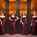 Burgundy Off The Shoulder Lace Bodice Chiffon Mermaid Bridesmaid Dress