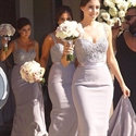 Lilac Sleeveless Sweetheart Neckline Bridesmaid Dresses With Straps
