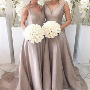 Elegant Simple Floor Length Sleeveless V Neck A-Line Bridesmaid Dress