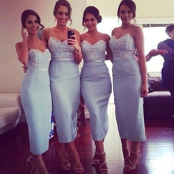 Light Blue Vintage Spaghetti Strap Tea Length Sheath Bridesmaid Dress