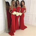 Red Off The Shoulder Lace Embellished Chiffon Mermaid Bridesmaid Dress