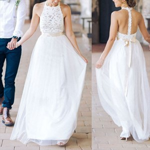 Lovely White Halter Lace Bodice A-Line Chiffon Dress With Open Back