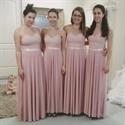 Light Pink Sleeveless Halter Backless A-Line Chiffon Bridesmaid Dress