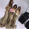 Champagne Off The Shoulder Sequin Front Slit Mermaid Bridesmaid Dress
