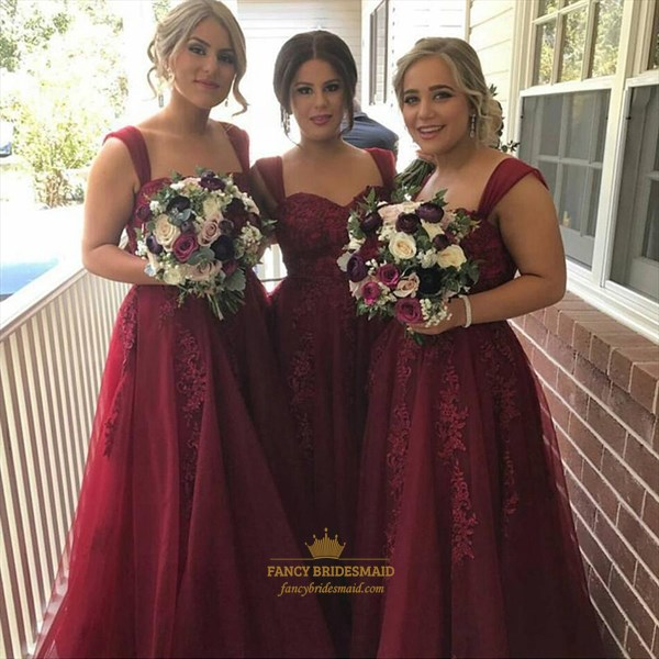 Burgundy Sleeveless Embellished A-Line Bridesmaid Dress With Straps