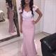 Elegant Off The Shoulder Lace Bodice Sheath Mermaid Bridesmaid Dress